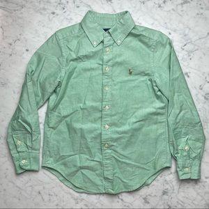 Ralph Lauren Green Long Sleeve Button Down Oxford Shirt